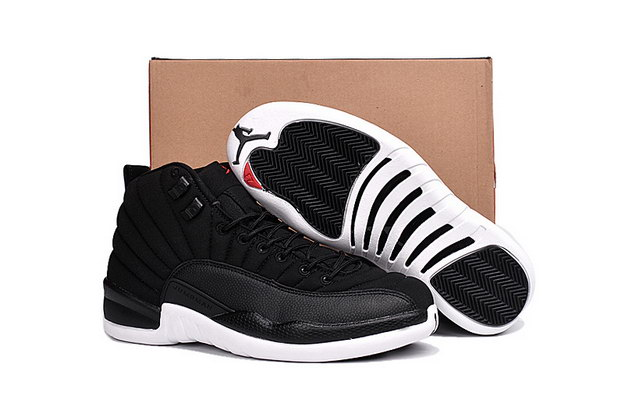 "Air Jordan 12 ""Black Nylon"" Shoes Black/White Gym Red"